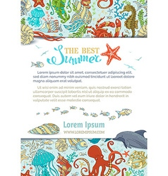 Cartoon background of marine life vector