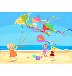 Cartoon children playing with kites on beach vector