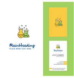 chemical flask creative logo and business card vector image