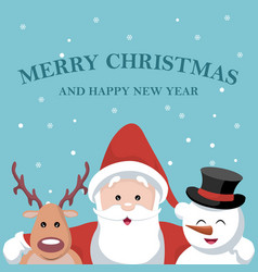 christmas card of santa claus reindeer and snow b vector image