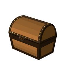 Closed wooden chest box treasure vector