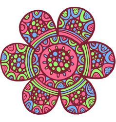 colorful mandala flower doodle cartoon artwork vector image