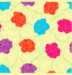 Colorful roses with leaves sketch vector