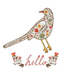Concept hello card with floral decorative bird vector image vector image