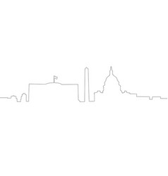 continous line skyline of washington dc vector image