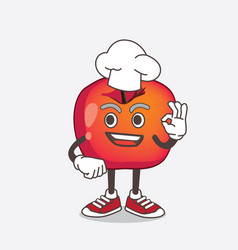 crab apple cartoon mascot character in a chef vector image