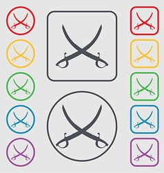 Crossed saber icon sign symbol on round and vector