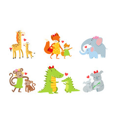 cute animals couple mom and baby vector image