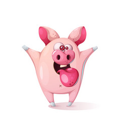 cute cartoon pig - children vector image