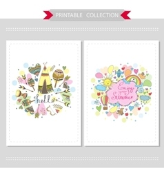 Cute hand drawn doodle postcards vector image
