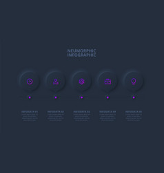 Dark neumorphic element for infographic template vector