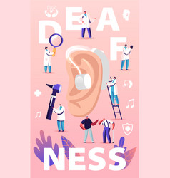 Deafness concept deaf people with hear problems vector