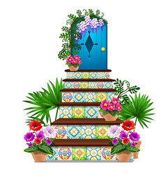 Decor in the form of a blue wooden door and steps vector