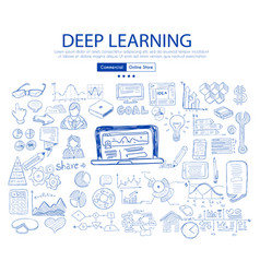 Deep learning concept with business doodle design vector