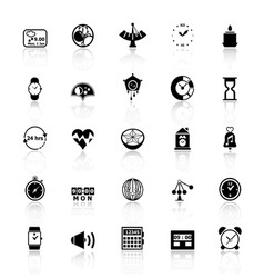 Design time icons with reflect on white background vector image