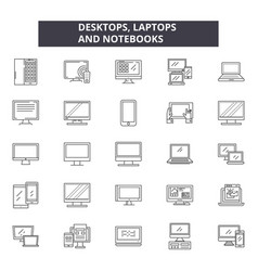 desktop laptops notebooks line icons signs vector image