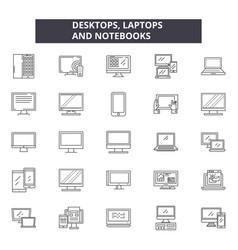 desktop laptops notebooks line icons signs vector image