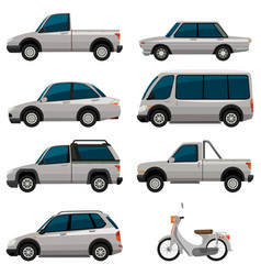 different types of vehicles in white color vector image
