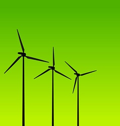 Eco energy turbines on green vector
