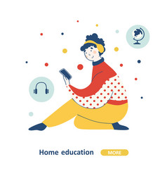 education course home flat graphic design vector image