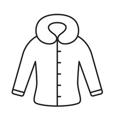 Fitted coat with hood or fur collar icon thin vector