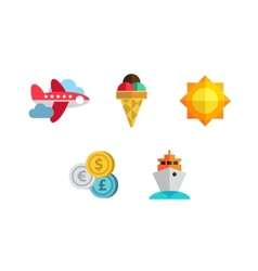 Flat icons set with long shadow effect of vector image