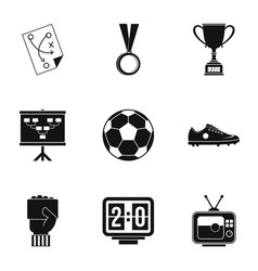 football equipment icons set simple style vector image
