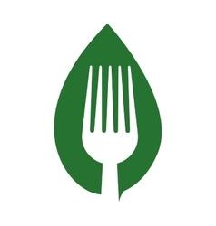 Fork leaf green vegan organic icon graphic vector