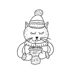 funny cat nursery art minimalist scandinavian vector image
