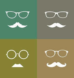 Glasses and mustache set vector image