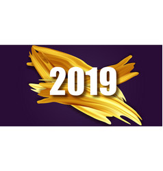 Gold 2019 happy new year greeting card banner vector
