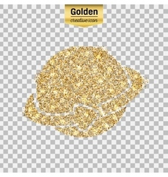 Gold glitter icon of planet earth isolated vector