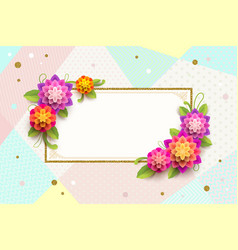 Greeting card with ornamental frame and flowers vector