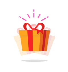 Happy gift box prize icon or cheerful vector
