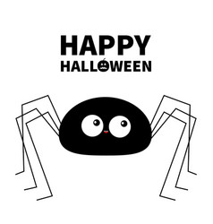 Happy halloween black spider silhouette long paws vector