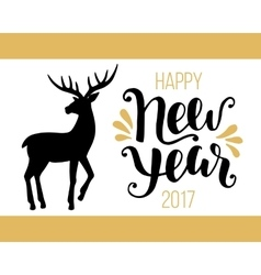 Happy New Year 2017 card with hand drawn deer vector image