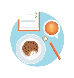 Healthy quick snack with cup of coffee biscuit vector image
