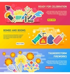 Holiday fire crackers show set of business vector image