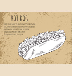 Hot dog fast food text poster vector