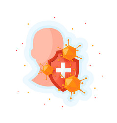 immune system icon in cartoon style vector image