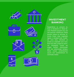 Investment banking banner in flat style with text vector