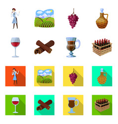 isolated object farm and vineyard sign set of vector image