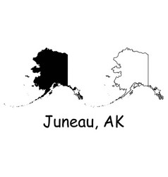 Juneau alaska ak state border map usa vector