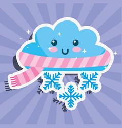 Kawaii winter cloud snowflake cartoon weather vector