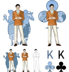 King of clubs caucasian male party host with vector