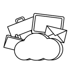 line cloud data network connection server vector image