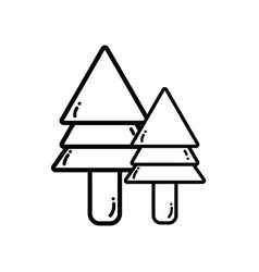 Line natural pine trees botany icons vector