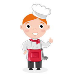 little boy in cook uniform with ladle vector image