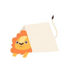 little lion sitting under empty banner cute vector image