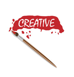 Logo brush and red paint vector